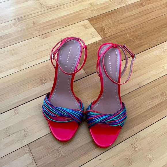 Zara Patent Leather Multi colored Sandals